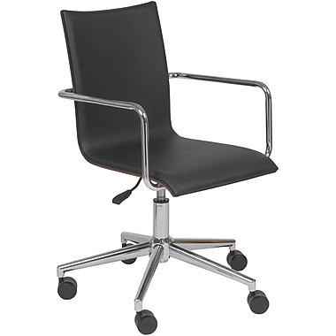 Euro Style™ Madge Leatherette Office Chair, Black/Walnut