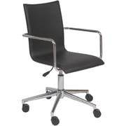 Euro Style 17229BLK Madge Leatherette Executive Chair with Fixed Arms, Black