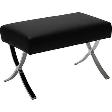Euro Style™ Pietro Leather Cushion Ottoman, Black