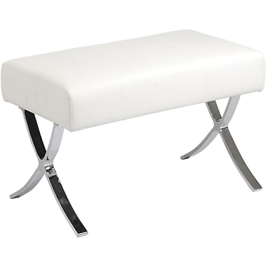 Euro Style™ Pietro Leather Cushion Ottoman, White