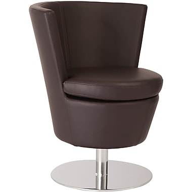 Euro Style™ Squire Leatherette Swivel Lounge Chair, Brown