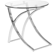 "Euro Style™ Talisa 21"" Round Glass Side Table, Clear"