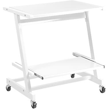 Euro Style™ Zeus Glass Laptop Cart, White