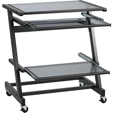 Euro Style™ Z Glass Computer Cart, Graphite Black