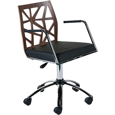 Euro Style™ Sophia Leatherette Office Chair, Walnut/Black