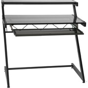Euro Style™ Z Deluxe Tempered Smoked Glass Small Desk, Graphite Black