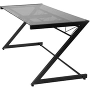 Euro Style™ Z Deluxe Tempered Smoked Glass Large Desk, Graphite Black