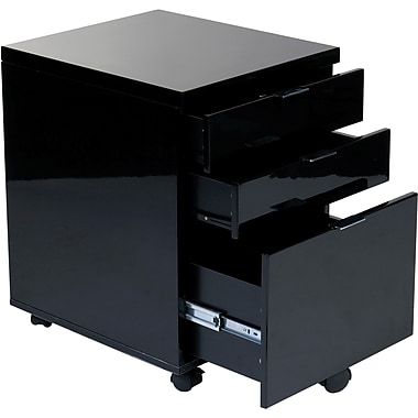 Eurostyle Gilbert 5 Drawer Mobile/Pedestal File, Black,Letter/Legal, 16.5''W (27531BLK)