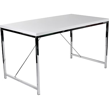 Euro Style™ Gilbert High Gloss Lacquer Wood Desk, White