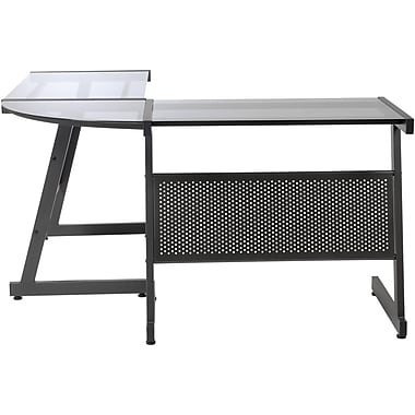 Euro Style™ Luigi L Tempered Smoked Glass Desk, Graphite Black