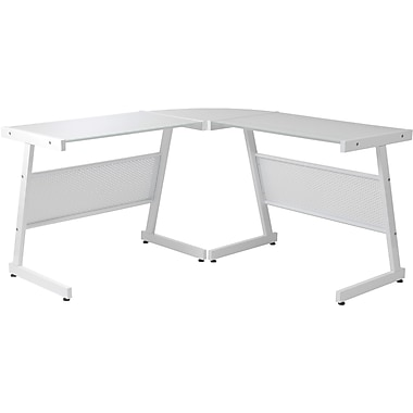 Euro Style™ Luigi L Pure White Painted Glass Desk, White
