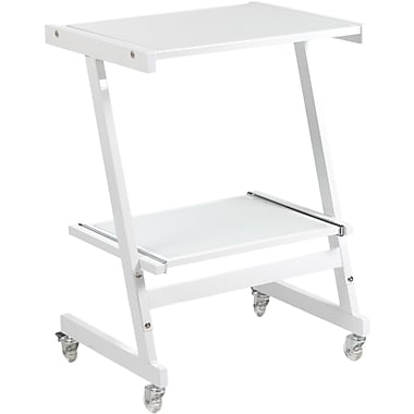 Euro Style™ Luigi Steel And Glass Laptop Cart, White