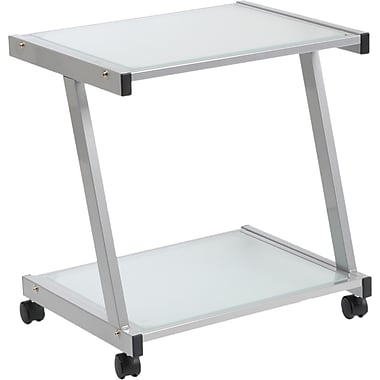 Euro Style™ Steel L Printer Cart With Frosted Glass Shelves, Aluminum