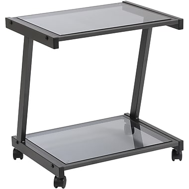 Euro Style™ Steel L Printer Cart With Smoked Glass Shelves, Graphite Black
