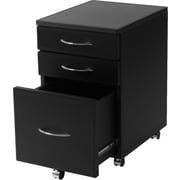 Euro Style™ Laurence High Leather MDF File Cabinet, Black