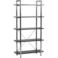 Euro Style™ Laurence Steel Frame 68in. 5-Shelf Bookcase, Black Leather, Chrome Frame