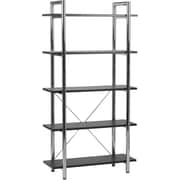 Euro Style™ Laurence Steel Frame 68 5-Shelf Bookcase, Black Leather, Chrome Frame