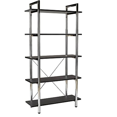 Euro Style™ Laurence Steel Frame 68in. 5-Shelf Bookcase, Brown Leather, Chrome Frame