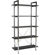 "Euro Style™ Laurence Steel Frame 68"" 5-Shelf Bookcase, Brown Leather, Chrome Frame"