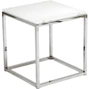 "Euro Style™ Sandor 18"" Square Glass Side Table, Pure White"