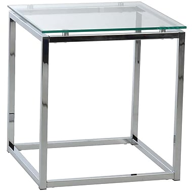 Euro Style™ Sandor 18in. Square Glass Side Table, Clear