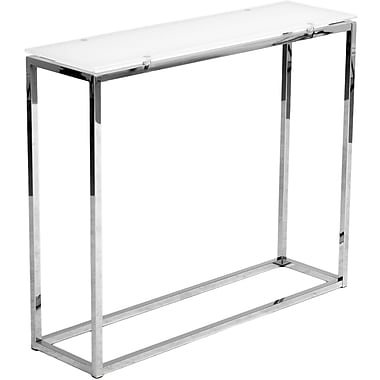 Euro Style™ Sandor 30 1/2in. x 36in. x 10in. Glass Console Table, Pure White