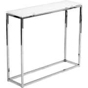 "Euro Style™ Sandor 30 1/2"" x 36"" x 10"" Glass Console Table, Pure White"