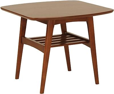 """""Euro Style 23 1/2"""""""" Carmela Square MDF Side Table, Walnut"""""" 50034"