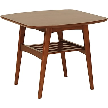 Euro Style™ 23 1/2in. Carmela Square MDF Side Table, Walnut