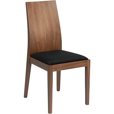 Euro Style™ Deanna Microfiber Dining Side Chair, Black/Walnut
