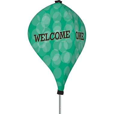 Metrix™ Emerald 8' The Twizla™ 3 Sided Advertising Flag, Welcome