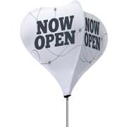 Metrix™ White 8' The Twizla™ 4 Sided Advertising Flag, Now Open