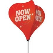 Metrix™ Poppy Red 8' The Twizla™ 4 Sided Advertising Flag, Now Open