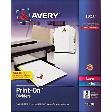 Avery® Print-On Presentation Dividers, 8 Tab, White Tab, 1 Set, Laser/ InkJet