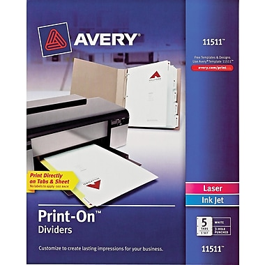 Avery Print-On Presentation Dividers, 5 Tab, White Tab, 1 Set, Laser/ InkJet