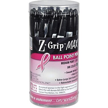 Zebra Z-Grip Max Retractable Ballpoint Pens with Pink Ribbon Imprint, 1.2mm, Black, 24/Pack