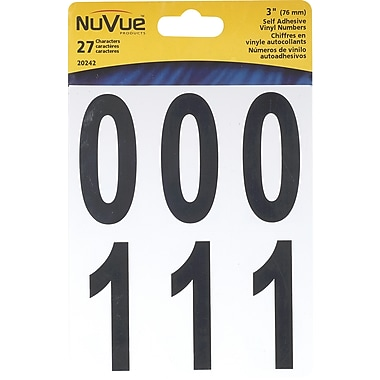 NuVue Assorted Black Vinyl Number Kits, 270 Characters/Set
