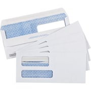 "Staples® Envelopes White Double Window Security #9, 3-7/8"" x 8-7/8"", 250/Box - Fold and Stick"