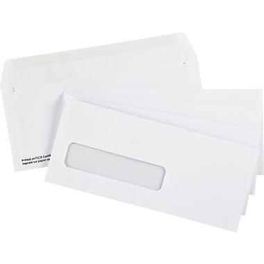 Staples® Envelopes White Window #9, 3-7/8