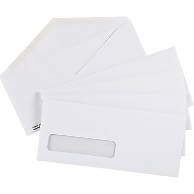 Staples® Envelopes White Window #10, 4-1/8