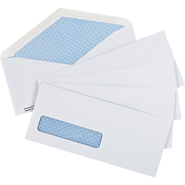 Staples® Envelopes White Window Security #10, 4-1/8