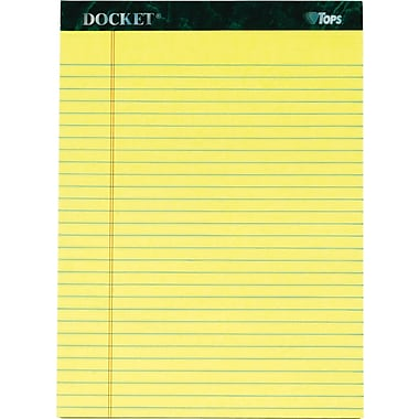 Docket® Legal Notepad, Legal Rule, Canary, Rigid Back, 50 Sheets/Pad, 12 Pads/Pack, 8-1/2in. x 11-3/4in.