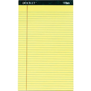 Docket® Legal Notepad, Legal Rule, Canary, Rigid Back, 50 Sheets/Pad, 12 Pads/Pack, 8-1/2in. x 14in.
