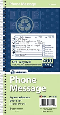 """""""""""Adams Phone Message Book, Ruled, 2-Part, White/White, 11"""""""""""""""" x 5 1/2"""""""""""""""", 1/Ea"""""""""""" 609011"""