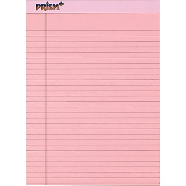 Prism+™ Legal Notepad, Legal Rule, Pink, Perforated, Rigid Back, 50 Sheets/Pad, 12 Pads/Pack, 8-1/2in. x 11-3/4in.