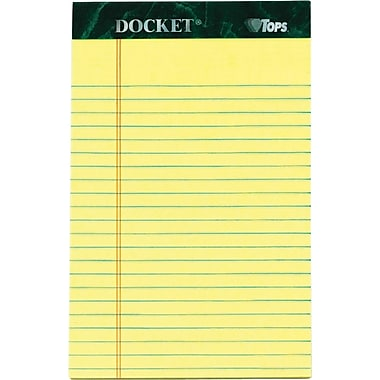Docket® Notepad, jr. Legal Rule, Canary, Rigid Back, 50 Sheets/Pad, 12 Pads/Pack, 5in. x 8in.