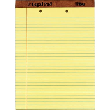 The Legal Pad™ wide Rule, Canary, Perforated, 2-Hole-Punched top, 50 Sheets/Pad, 12 Pads/Pack, 8-1/2in. x 11-3/4in.