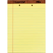 "The Legal Pad™ wide Rule, Canary, Perforated, 2-Hole-Punched top, 50 Sheets/Pad, 12 Pads/Pack, 8-1/2"" x 11-3/4"""