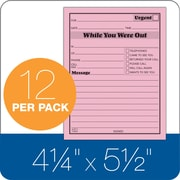 """TOPS® While You Were Out Pad, Ruled, 1-Part, Pink, 5 1/2"""" x 4 1/4"""", 12/Pk"""