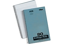 TOPS® Spiral-Bound Notebooks, 7-3/4'x5', College Ruled, White, 80 Sheets/Pad